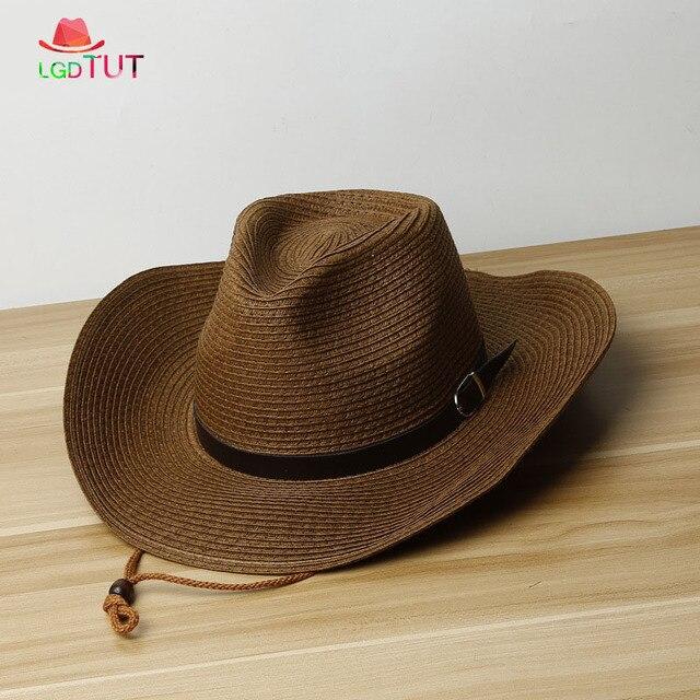 06cbe17f 2019 Spring Summer Mens Straw Hats Men's Woman's Western Cowboy Hat With Sun  Hat Beach Big panama hat men
