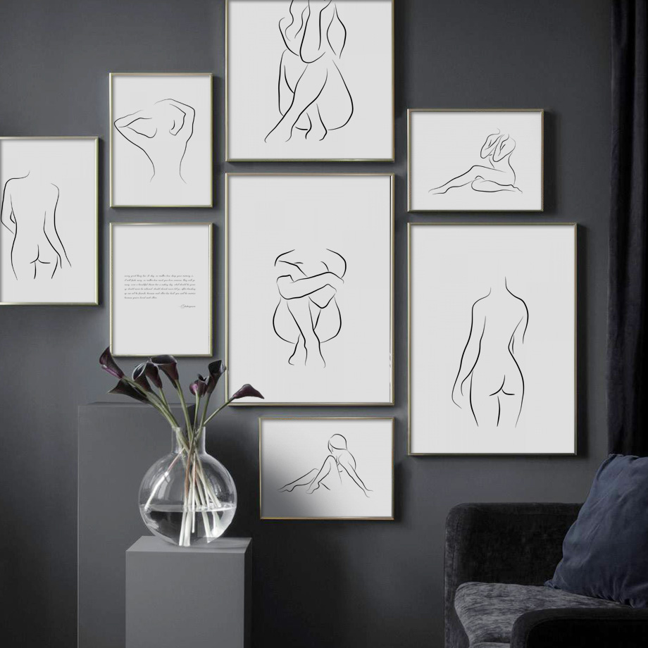 Abstract Line Woman Body Art Prints Wall Canvas