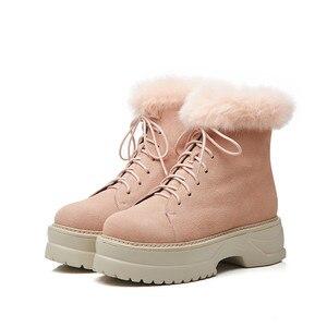 Image 2 - MORAZORA 2020 הגעה חדשה אמיתי עור קרסול מגפי תחרה עד פלטפורמת נעלי אופנה חורף מגפי להתחמם שלג מגפי נשים