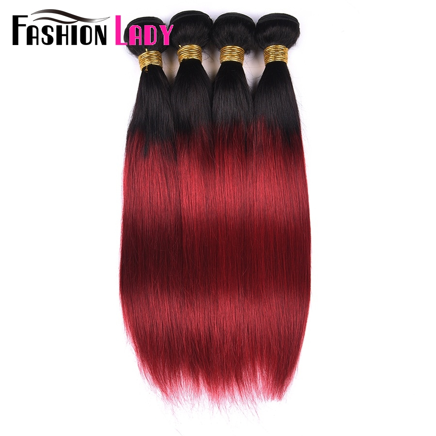 FASHION LADY Pre-Colored Indian Bundles Straight Hair Bundles Ombre Human Hair Weave T1B/Burgundy 1 Bundle Per Pack Non-Remy