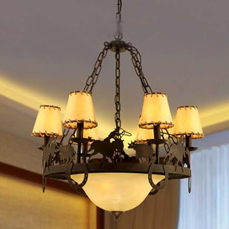 Éclairage à la maison pendentif lumière jardin rétro créatif restaurants salon chambre rétro 6 têtes fer verre lampes ZA99614