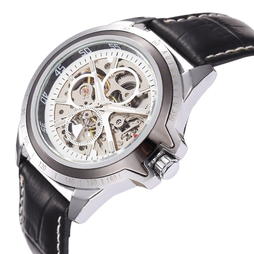 relojes hombre New Black Timepiece Army Military Automaical Men's Skeleton Mechanical Wrist Watch relogio masculino