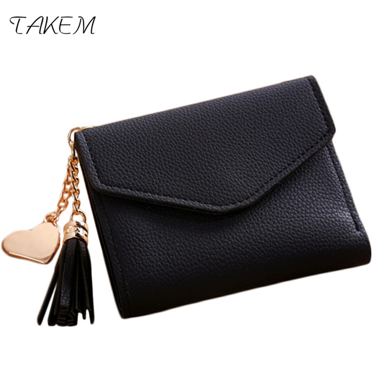 TAKEM new Solid PU Leather Women hasp short Wallet Purse Female Wallets Purse Card Holder coin cash bag Portefeuille femme Pouch takem pu leather women hasp long eiffel tower wallet purse female wallets purse card holder coin cash bag portefeuille femme