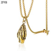 ZFVB Vintage Praying Hands Pendant Necklace For Women Men 316L Stainless steel High Quality Religious Faith Necklaces Jewelry