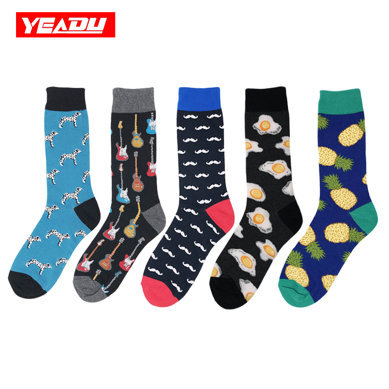 YEADU New Men's Asymmetrical   Socks   Cotton Colorful Fashion Cartoon Funny Harajuku Food Fruit Animal Happy Dress Crew   Sock