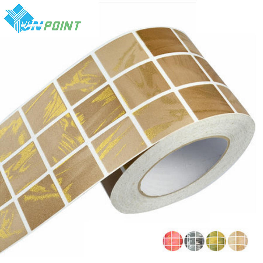 1M Bathroom Waistline Wall Sticker Home Decor Kitchen Toilet Waterproof Self Adhesive Wall Paper PVC Mosaic Tiles Sticker Border