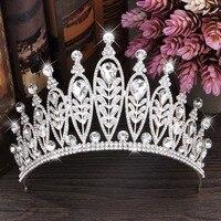 Luxury Silver Leaves Hair Vine Bridal Crowns Wedding Headband Hair Accessories Bridal Head Tiaras Hair Jewelry Women Prom Crown
