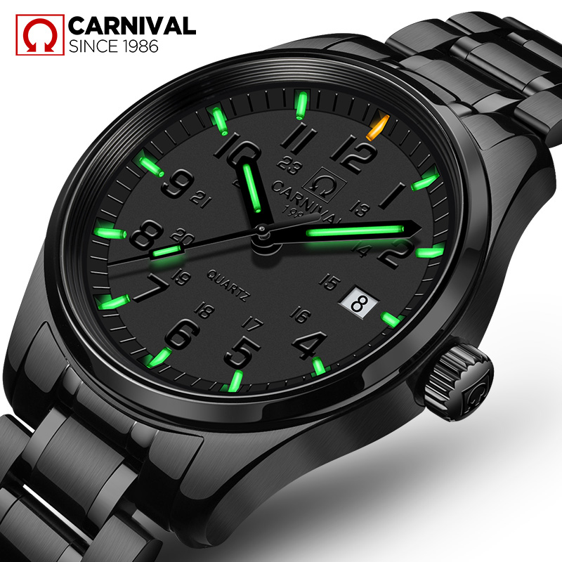 Relogio masculino CARNIVAL Fashion Tritium Luminous Watches Top Brand Luxury Quartz watch with Calendar Waterproof Watch men carnival new fashion casual tritium luminous watch women ultrathin quartz watches top brand luxury waterproof relogio feminino