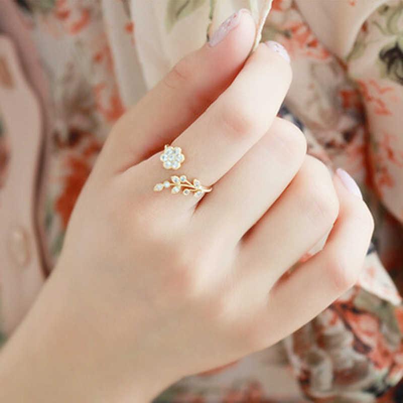 NJ25 เกาหลี Twisted ใบดอกไม้ Rhinestone เปิดแหวน Rose Gold สีแหวนผู้หญิงงบแหวนขายส่ง