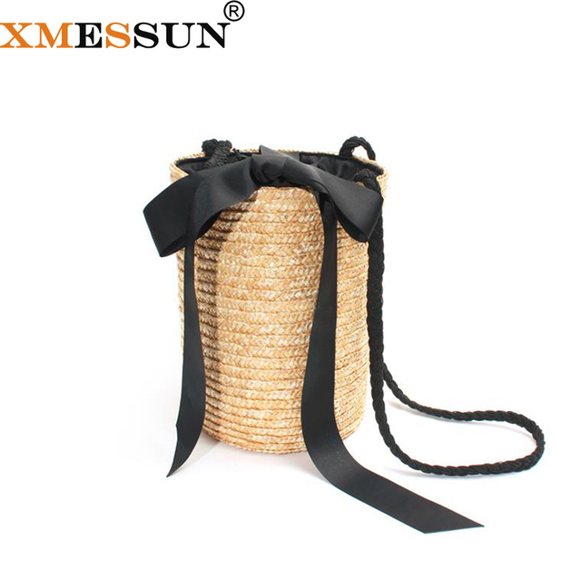XMESSUN Beach Bag Round Straw Totes Basket Bucket Bag Summer Bags Women Handbag Braided 2018 New High Quality Rattan Bag