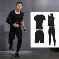 2017 Men Running Training Sets Quick Dry Jogging Sports Gym Compression Underwear Yoga Fitness Basketball Tights