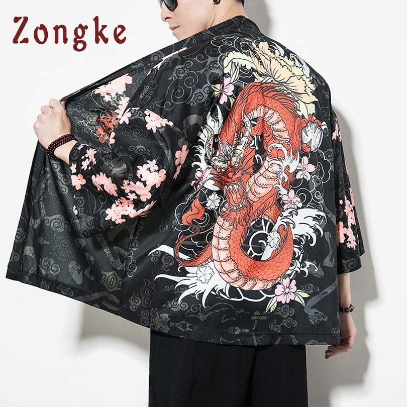 Siam Trendy Mens Japanese Style Pants One Size Black Painting Fish Dragon Design