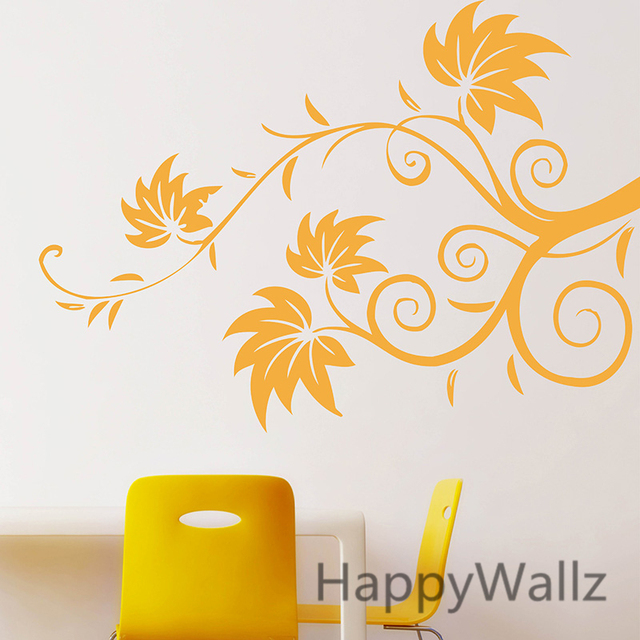 3D Flower Wines Wall Sticker Beautiful Flower Wall Decals DIY Floral Wines  Wall Stickers Flower Wallpaper