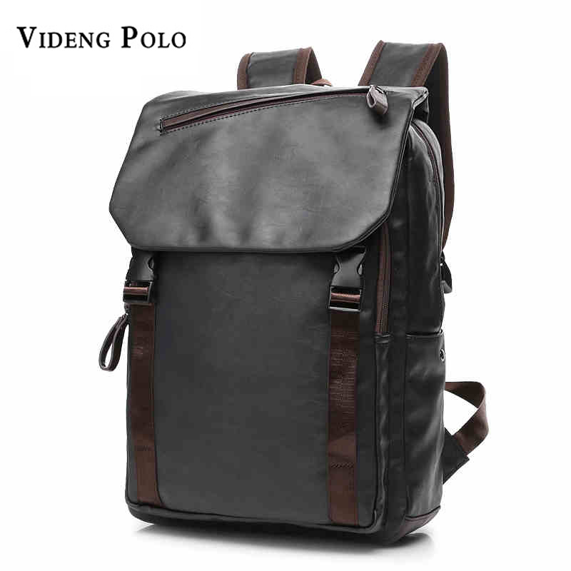 VIDENG POLO Famous Brand Preppy Style Leather School Backpack Bag For Men Casual Daypacks mochila male Travel Backpack high quality authentic famous polo golf double clothing bag men travel golf shoes bag custom handbag large capacity45 26 34 cm