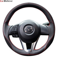Car Believe Genuine car steering wheel cover For mazda 6 gh gj cx 5 3 2014 bk 2017 2016 cx 3 steering wheel car accessories