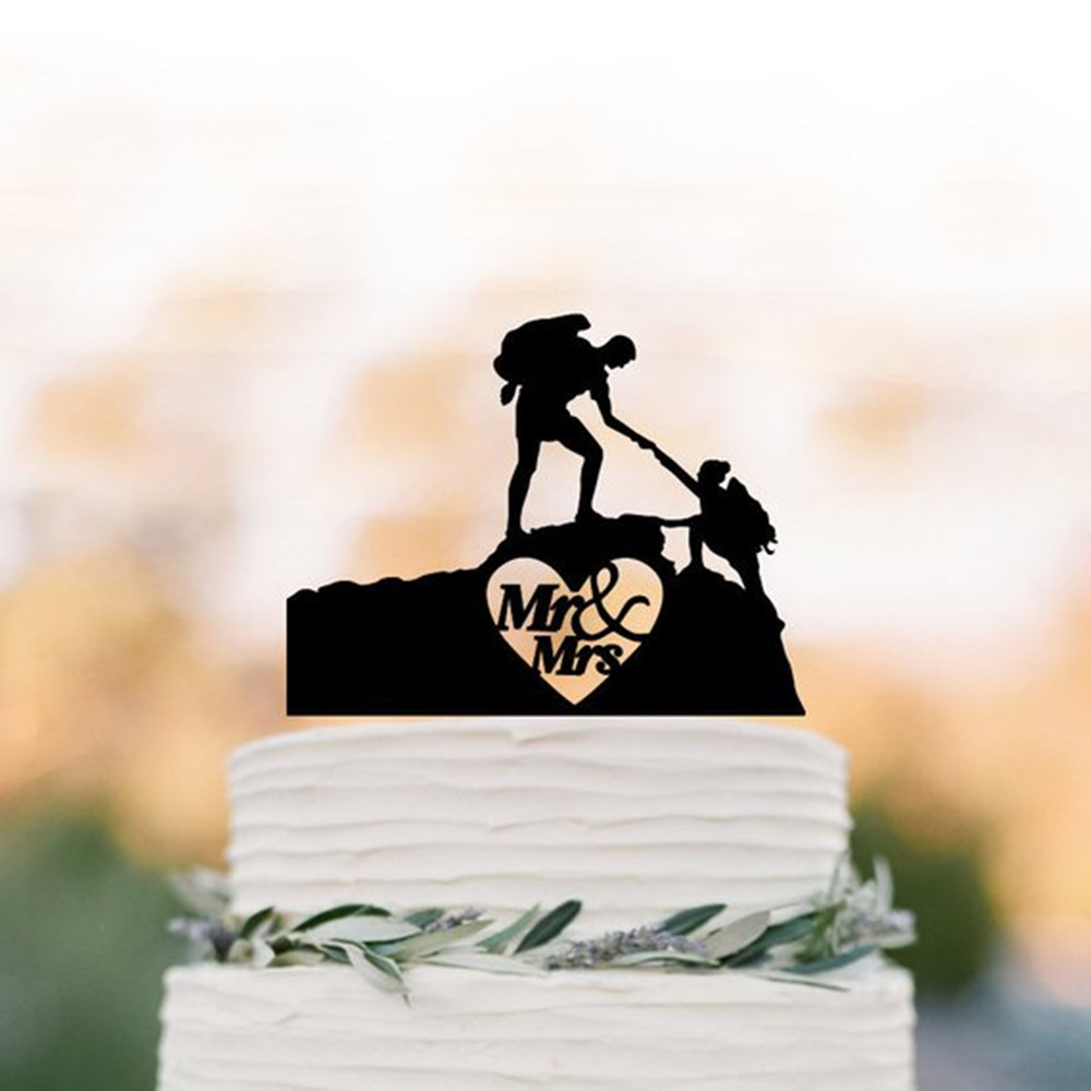 Hiking Couple Climbing Mountain Wedding Cake Topper Backpacking Bride and Groom Outdoor Cake Topper Mr& Mrs Wedding Cake Topper