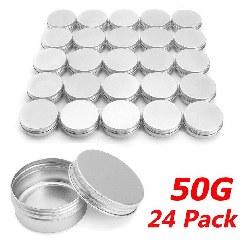 Empty 24pcs 50g Metal Aluminum Round Tin Cans Box Silver Cosmetic Cream Jar Pot Case Screw Thread Lid Lip Balm Container 55*29