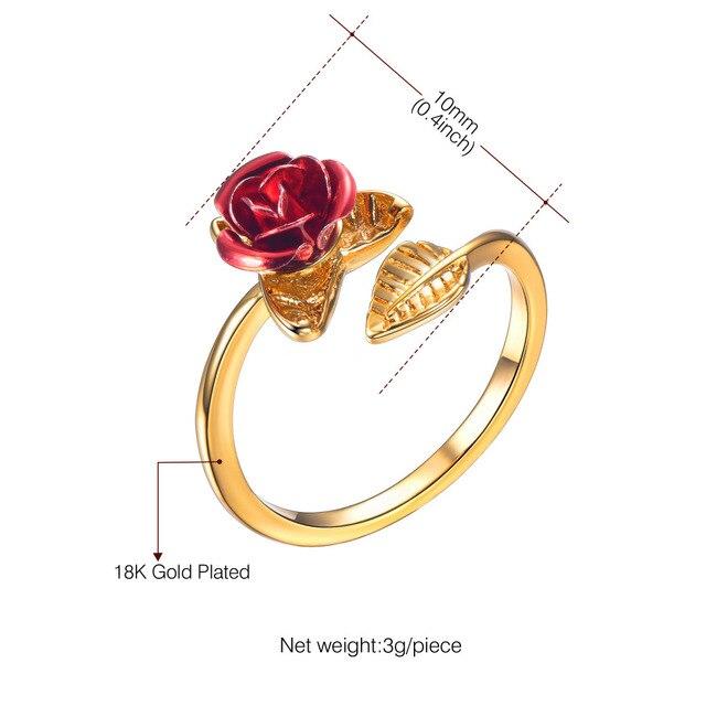 U7 Red Rose Garden Flower Leaves Resizable Finger Rings for Women Valentine's Day Gift 3