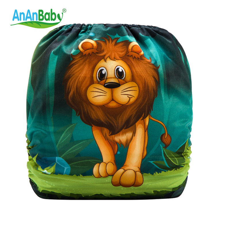 Ananbaby Lion Cloth Diaper Funny Baby Reusable Cloth Diaper Cover Fox Diaper Pocket Nappy Pocket Diaper One Size Design HA034S