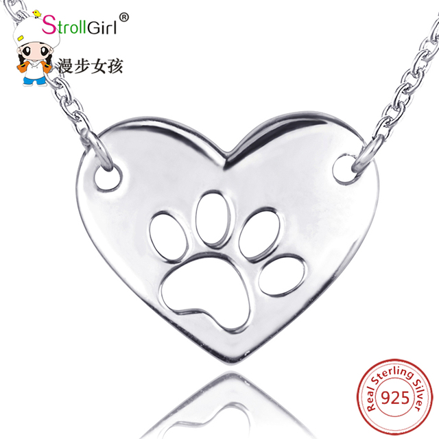 Aliexpress buy 925 sterling silver dog paw pendants 925 sterling silver dog paw pendants necklaces for women multilayer gold color pendant chain necklace mozeypictures Gallery
