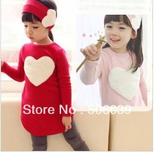 5pcs/lot free shipping Love heart three-piece suit children long style girls fleece  girls clothing sets