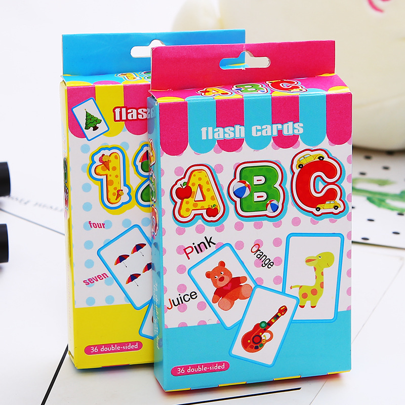 36Pcs Alphabet Numbers Kids Early Learning Vocabulary Flash Card Educational Toys Paper Sticker For Teaching