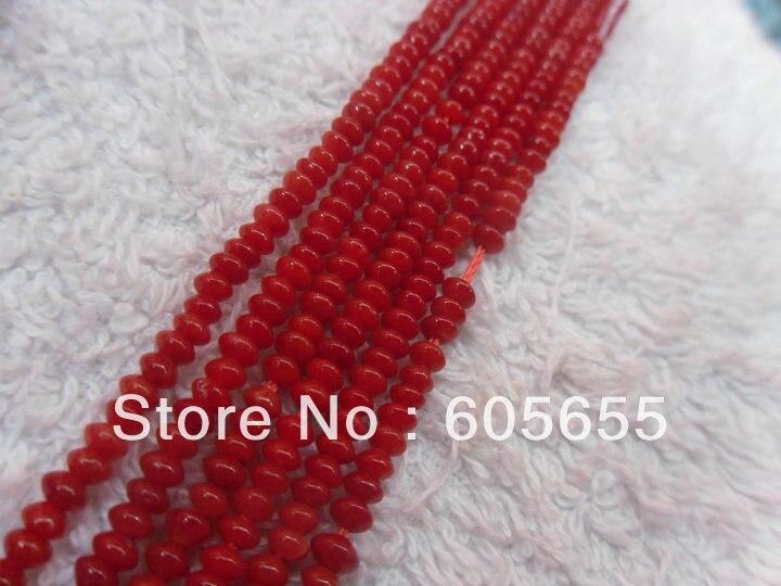 Красный коралл 2x4 мм Rondelle Летающая Тарелка форма Бусины для ювелирных изделий решений 10strands за лот