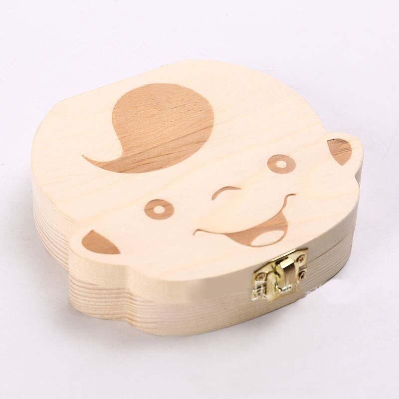 English Wooden Baby Tooth Box Organizer Milk teeth Storage Box for Boy Girl Save Teeth Album Keepsake Souvenir Save gift Box