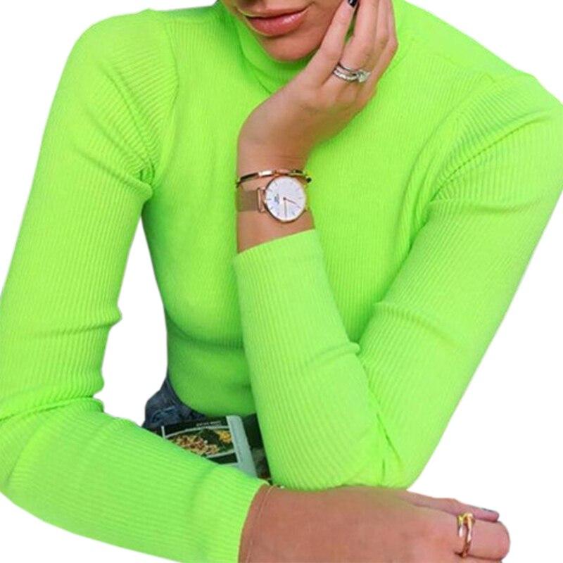 Las mujeres suéteres de manga larga de cuello alto verde fluorescente Jerséis de mujer de invierno Tops Sexy camisas de punto suéteres elástico