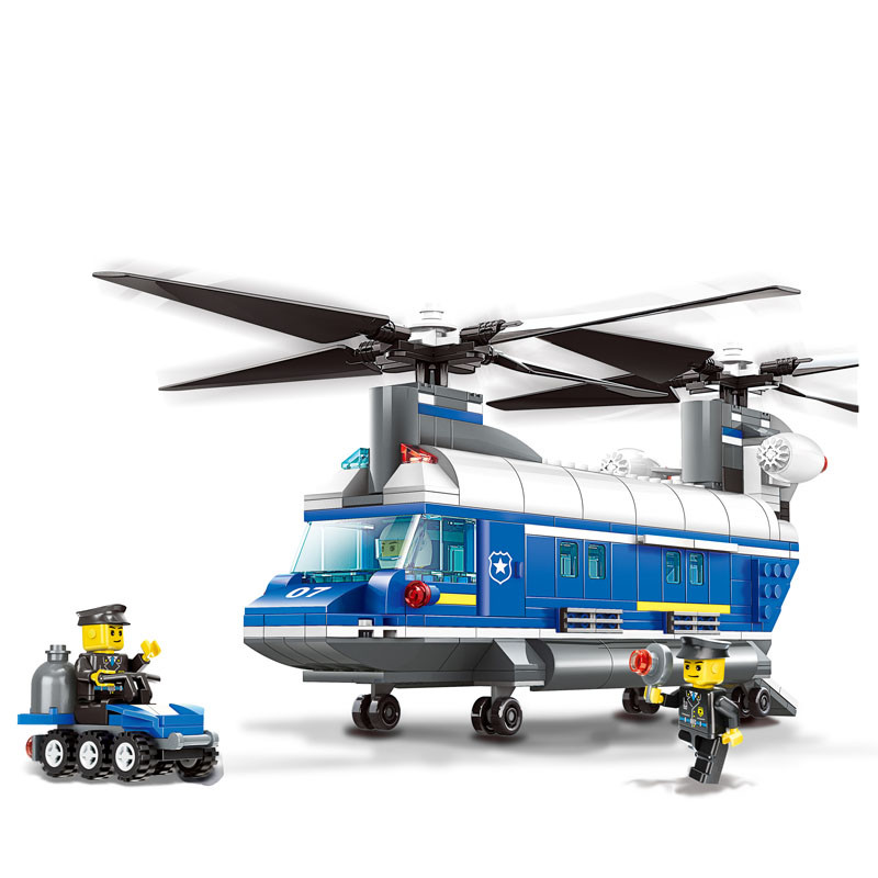 model building kit compatible with lego city Heavy-Lift Helicopter 3D block Educational model building toys hobbies for children