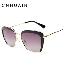 CNHUAIN Women's Glasses Polarized Cat Eye Sunglasses Brand Designer Vintage Half Frame Female Sun Glasses For Women 2016