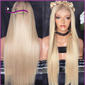 8A Full Lace Human Hair Wigs Blonde #613 Brazilian Virgin Hair Long Straight Gluless Lace Front Human Hair Wigs for  Women