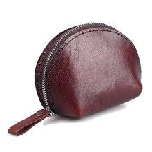 25PCS / LOT Zipper Coin Genuine Leather Wallet Men Women Vintage Bag  Retro Small Purses Brown Shell Mini Handbag