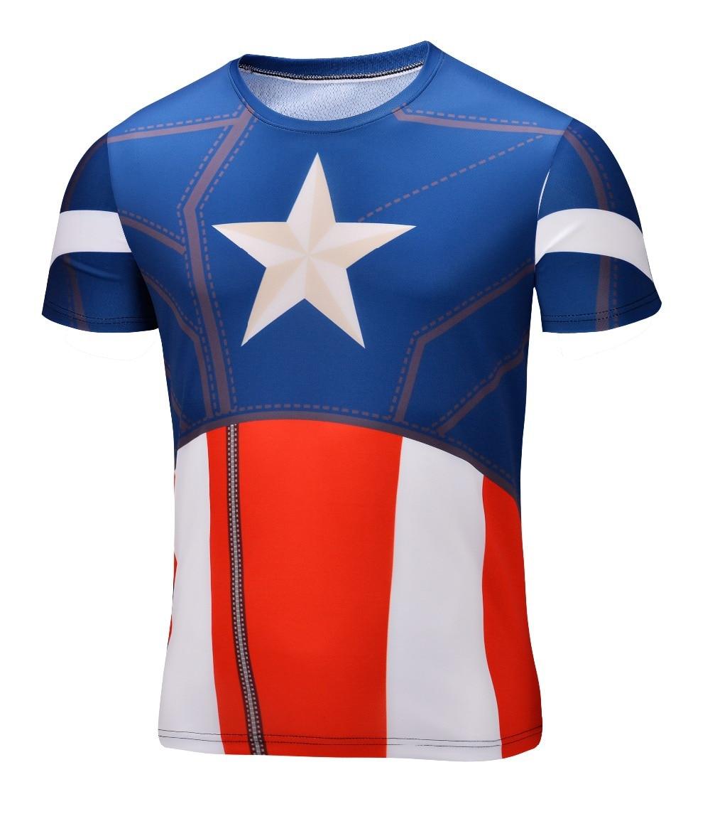 2016 superhero captain america t shirt men short sleeve for Most popular dress shirts