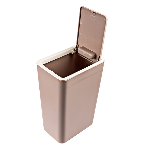 Hips 12l Pressing Type Square Waste Bins Kitchen Wastebin Trash Can With Lid Household Garbage Cans