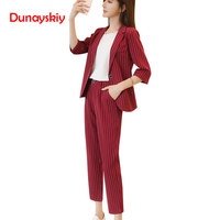 Work Pant Suits OL 2 Piece Sets Double Breasted Striped Fashion Blazer Zipper Trousers Suit For Women Set Feminino Spring