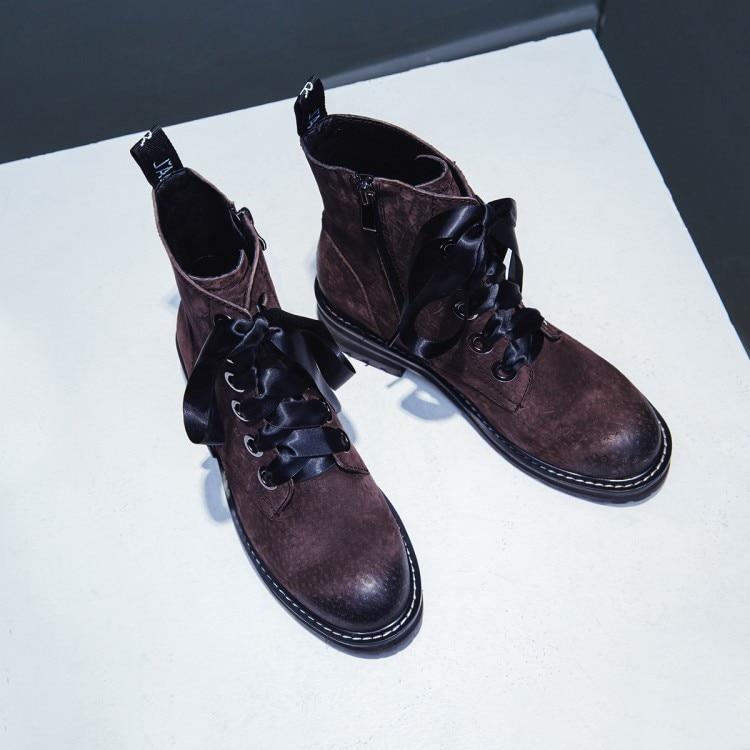 Botas Mujeres Talón Tobillo Zapatos 2018 marrón Invierno Para Cuero Negro Marca De Comodidad Gamuza Caliente Mujer Encaje Plano {zorssar} Las Martin 8BqPgYwqn