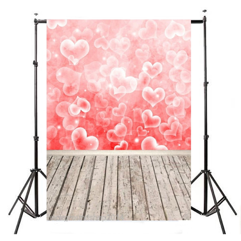 5x7ft Vinyl Valentine's Day Photography Background Studio Photo Prop Heart Wood Floor photographic Backdrop cloth 210cm x 150cm 8x10ft valentine s day photography pink love heart shape adult portrait backdrop d 7324