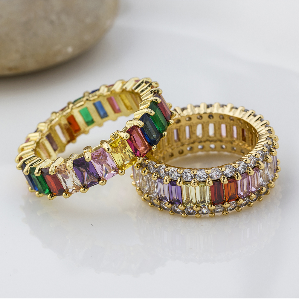 Hot Sale Thin Baguette Rainbow CZ Gold Ring For Women Fashion Engagement Wedding Band Top Quality Charm Jewelry 2