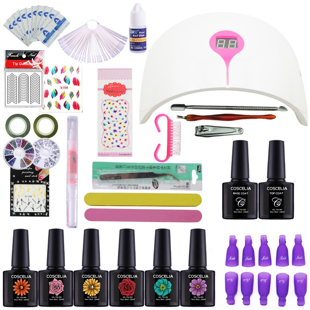 Nail Art Manicure Tool 24w Led Lamp + 6 Color 10ml Uv Led Gel Base Top Coat Polish With French Tip Remover Practice Set File Kit nail art manicure tool nail sticker 24w led lamp 6 color 10ml uv gel base top coat polish with french tip remover practice set