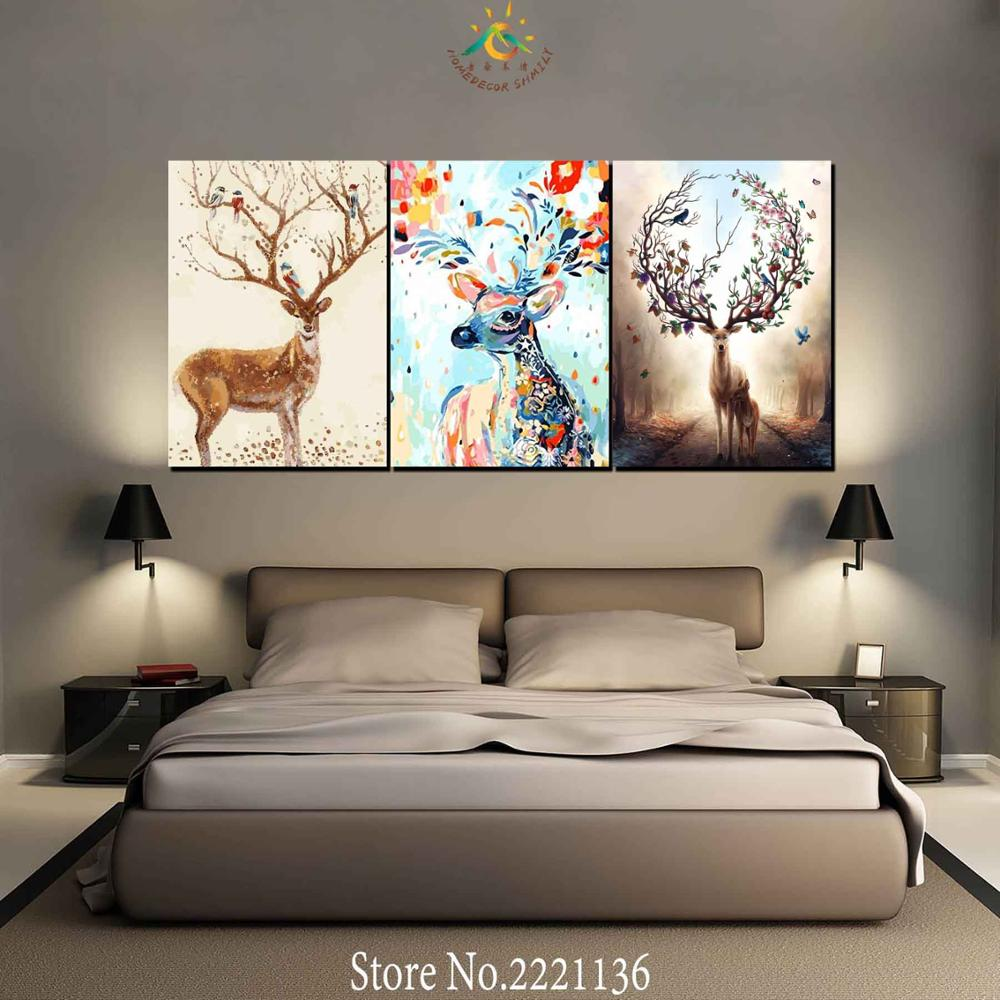 3 Pieces Abstract Deers wallpaper Modern Wall Art Canvas Printed Painting HD Prints Modular Poster Wall Pictures for Home Decor in Painting Calligraphy from Home Garden