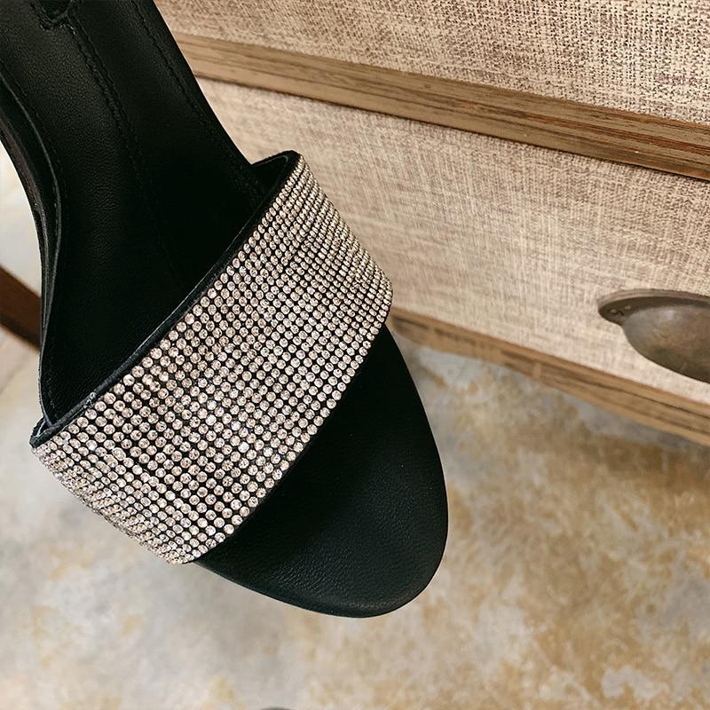 De Sandalias Mujer Toe Negro 2019 Tacón Imitación Perezosos Zapatillas Peep Diamantes Mujeres Zapatos Extraño TxA5wq5S