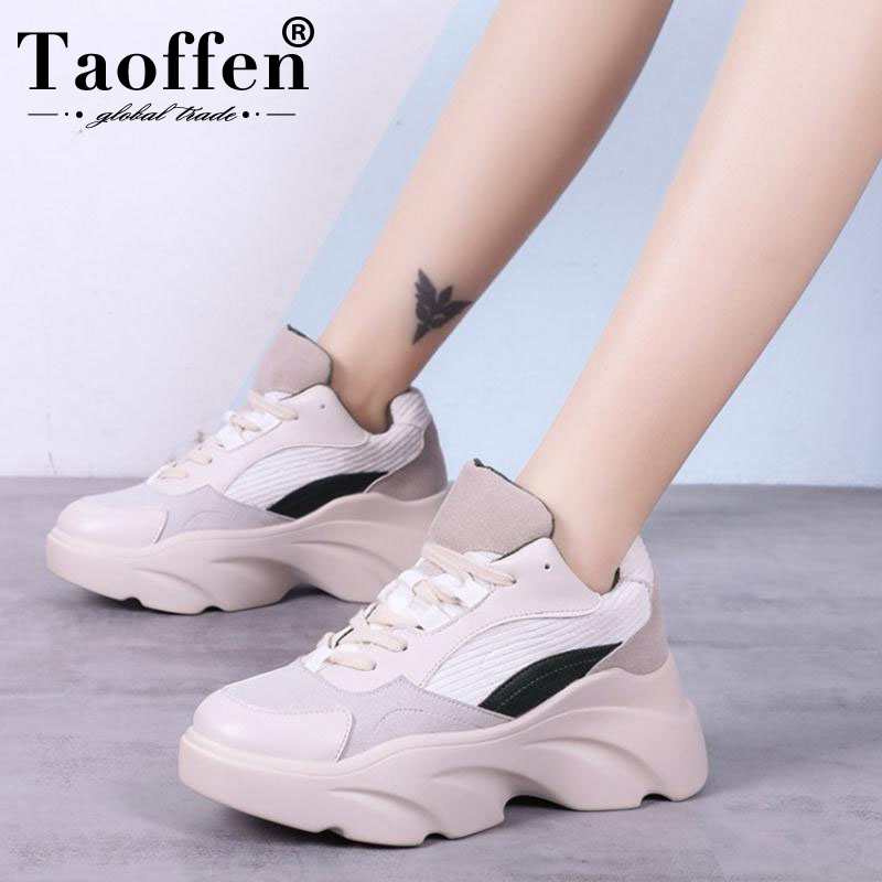 Taoffen New Women Vulcanized Shoes Casual Daily Sneakers Lace Up Fashion Shoes Women Sping Walk Footwear Size 35-40