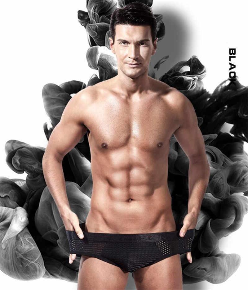 EACIECK Malha Cuecas dos homens shorts de Seda Quatro Cantos Underwear Da Marca Mens Sólidos Bodysuit Biquíni Sexy Cueca Cuecas M ~ XXXL