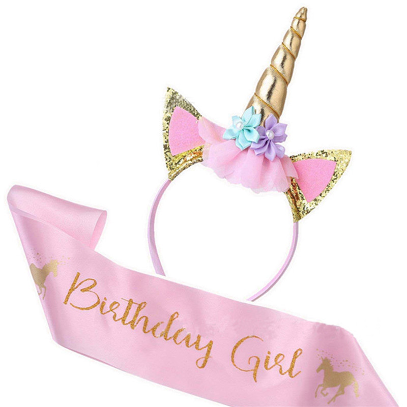 Baby Shower Birthday Girl Unicorn Headband With Sash Satin Silk Sash Girl 1st One Year Birthday Party Decoration Unicorn Party(China)