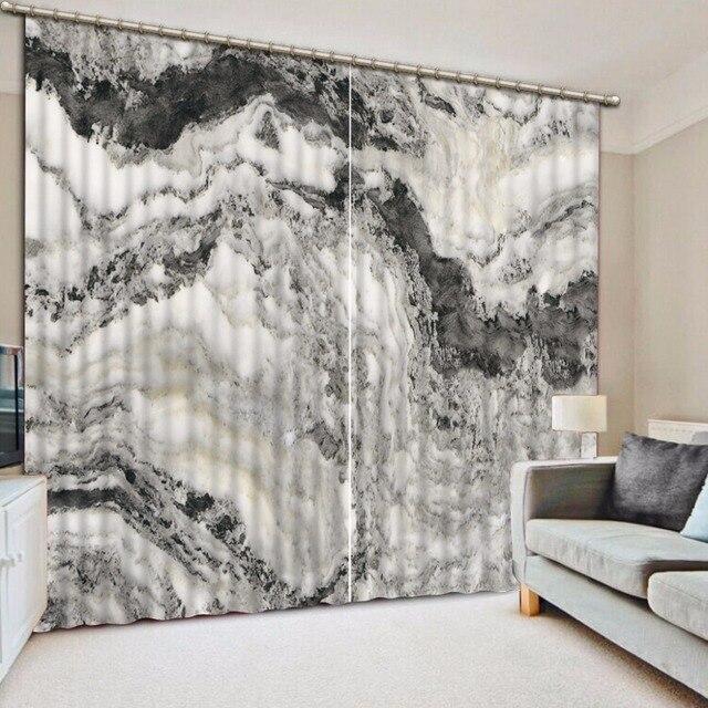 Moderne Wohnzimmer Vorhänge Blackout Hand Bemalt Berglandschaft Vorhänge  Für Das Schlafzimmer Schwarz Und Weiß Fenster Vorhang