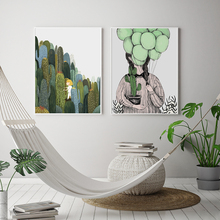 Nordic Small Fresh Hand-painted Cartoon Succulent Figure Balloon Canvas Painting Art Abstract Print Poster Picture Home Decor