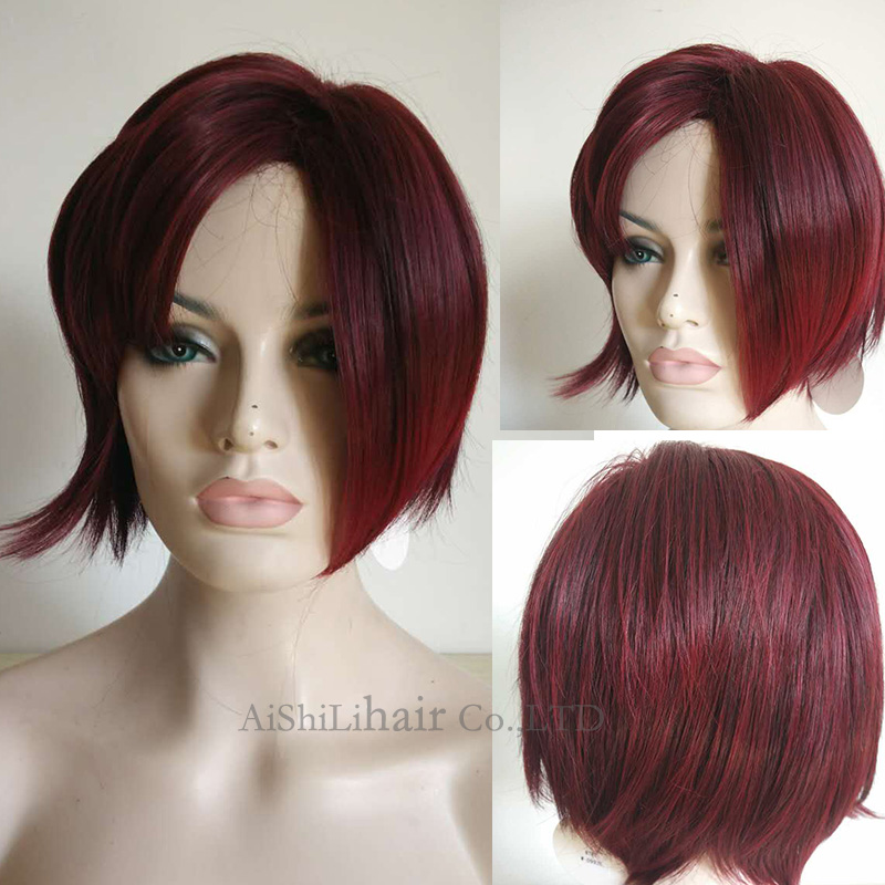 Premium Burgundy bob wigs Ombre synthetic hair wig cheap female short haircut best natural looking women cosplay