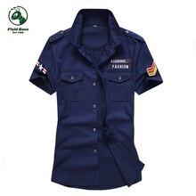 Поле Базовая рубашка мужская Военно короткий рукав 2017 Повседневная летняя обувь короткие хлопковые рубашки
