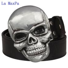 Fashion Exaggeration men s belt Big skull belt metal buckle skull belts Skeleton men punk rock